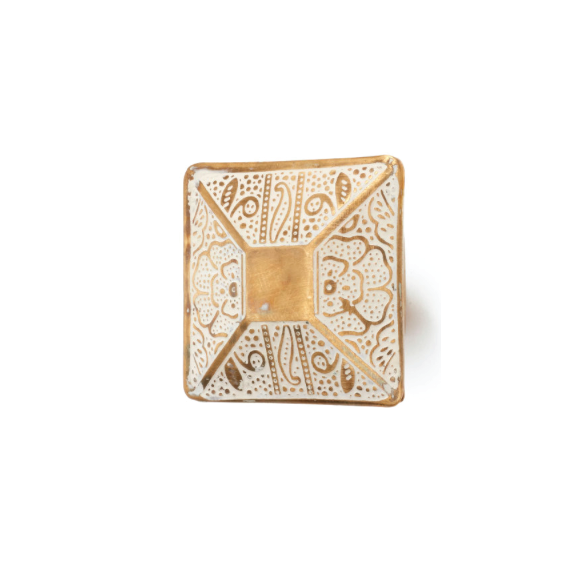 Square Etched Floral Knob