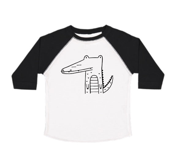 Arthur the Alligator 3/4 Sleeve Baseball Tee - Black/White