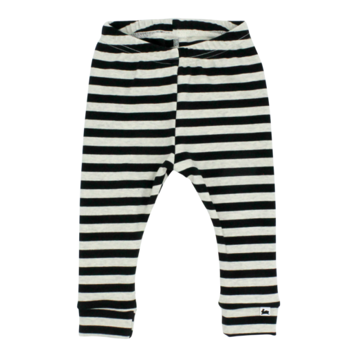 Little & Lively Black and Oatmeal Stripe Bamboo/Cotton Leggings