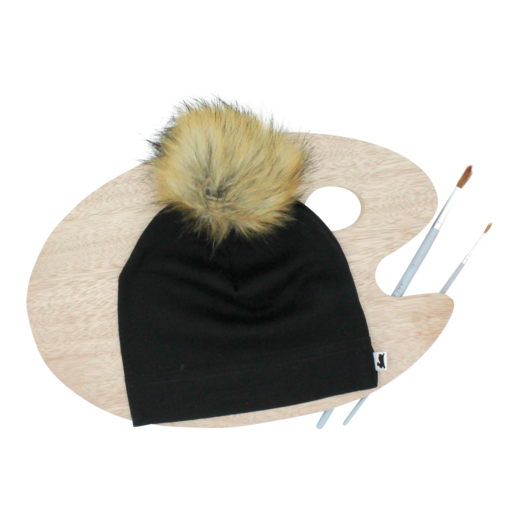 Little & Lively Black Pom Pom Beanie - Black