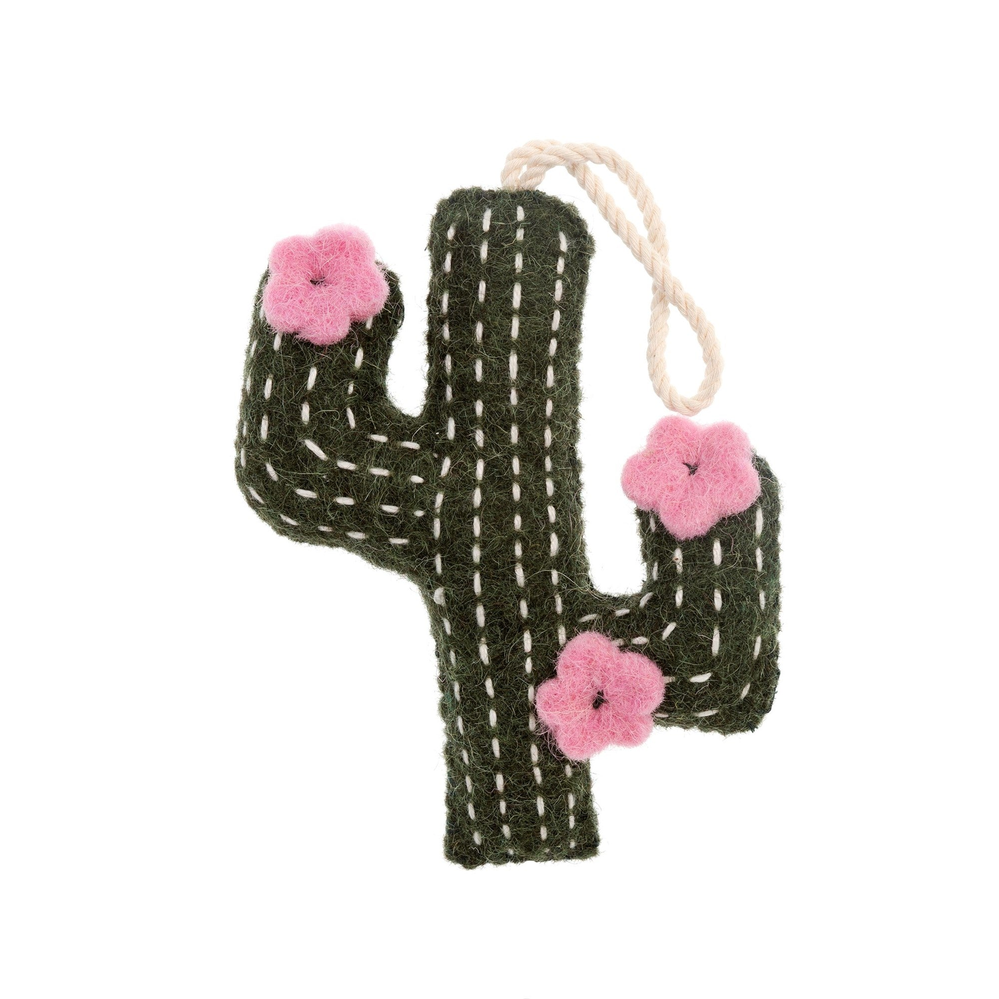 Felted Cactus Ornament with Pink Flowers
