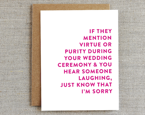 I'm Sorry Wedding Card