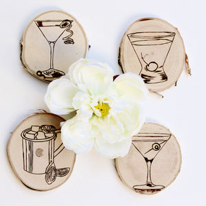 Wood Burned Coasters: 'Can I Buy You a Drink'