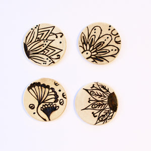 Wood Burned Magnets: 'Wildflower Frenzy'