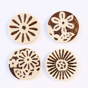 Wood Burned Magnets: Vintage Bohemian Flowers