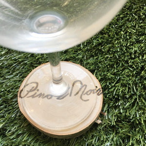 Birch Wood Burned Coasters: 'Wine and Dine'