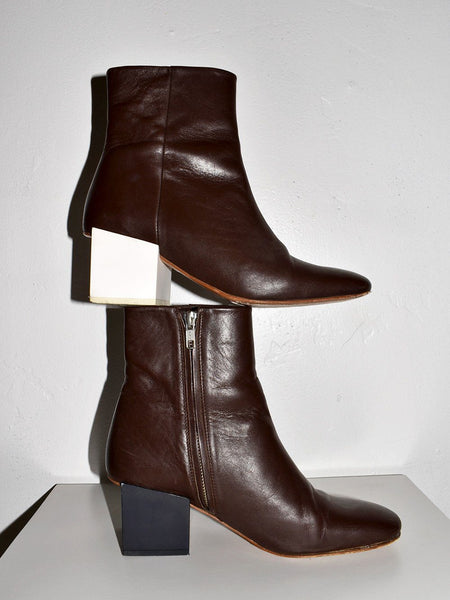 Jacquemus (Used) Two-tone cube heeled boots