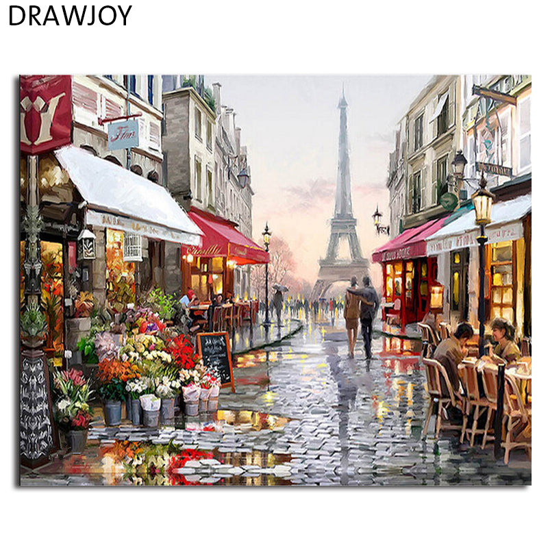Do it yourself diy by numbers paris eiffel tower painting wall solutioingenieria Image collections