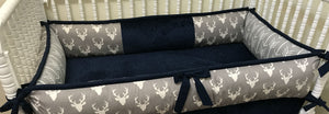 Gray and Navy Blue Deer Crib Bedding - Boy Baby Bedding with Deer and Arrows in Gray with Navy