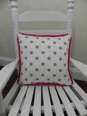 Gray Dots  with Red Accent Pillow