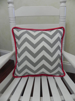 Gray Chevron with Red Accent Pillow