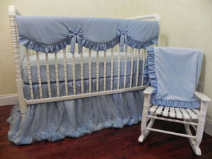 Gender Neutral Crib Bedding Set Giselle Blue - Gender Neutral Crib Bedding, Princess Baby Bedding, Ballerina Crib Bedding, Ivory Baby Bedding