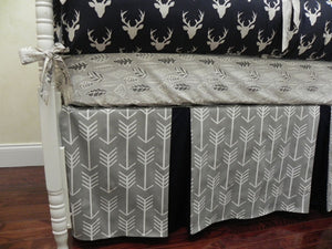 Navy and Gray Deer Crib Bedding Set Elias - Boy Baby Bedding with Deer and Arrows in Gray and Navy