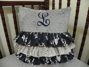 Gray Minky Dot with Navy Buck Ruffled Specialty Pillow