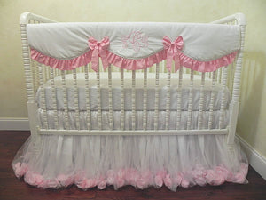 White and Pink Girl Crib Bedding Set Giselle - Princess Crib Bedding, Ballerina Baby Bedding, Crib Rail Cover