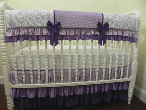 Lavender and Purple Girl Crib Bedding Set Hermione - Girl Baby Bedding, Crib Rail Cover Set