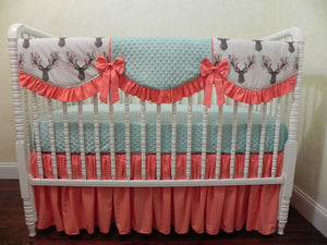 Coral and Aqua Woodland Girl Crib Bedding Set Catriona - Girl Crib Bedding, Crib Rail Cover Set, Deer Crib Bedding
