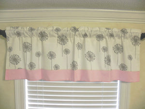 Window Valance - White and Gray Dandelion with Light Pink