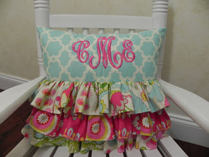 Aqua and Hot Pink Ruffled Specialty Pillow