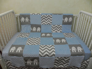 Gray Elephant and Light Blue Patchwork Baby Blanket