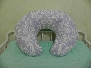 Lavender Damask and Mint Nursing Pillow Cover