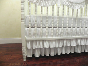White Girl Crib Bedding Set Gabrielle - Girl Baby Bedding, Scalloped Rail Cover, Tiered Crib Skirt