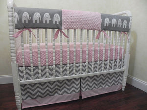 Elephant Crib Bedding Set Gigi- Girl Elephant Baby Bedding in Gray and Light Pink