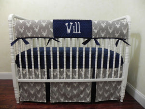 Gray Deer Baby Bedding Set Will- Gray Buck with Navy Crib Bedding, Crib Rail Cover
