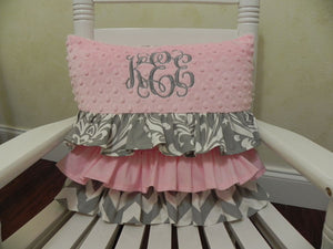 Light Pink and Gray Damask Ruffled Specialty Pillow