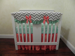 Mint, Light Coral, and Gray Chevron Girl Mini Crib Bedding Set - Girl Mini Crib Baby Bedding,  Mini Crib Bedding