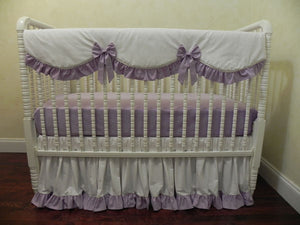 White and Lavender Girl Baby Bedding Set - Girl Crib Bedding, Crib Rail Cover