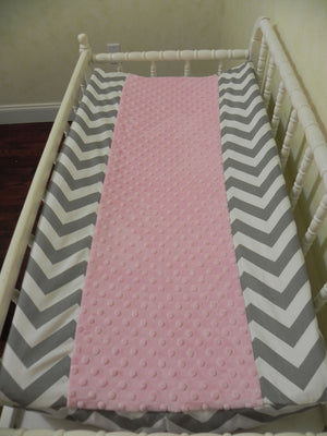 Changing Pad Cover - Gray Chevron with Light Pink Minky Dot