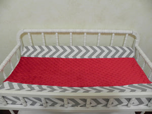 Changing Pad Cover - Gray Chevron with Red Minky Dot