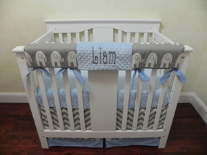 Gray and Light Blue Elephant Mini Crib Bedding Set - Boy Baby Bedding, Boy Mini Crib Bedding