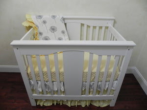Gray and Yellow Mini Crib Bedding Set - Girl Mini Crib Baby Bedding