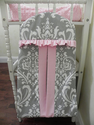 Diaper Stacker - Hanger Style in Gray Damask and Light Pink