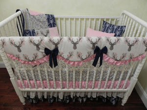 Woodland Girl Crib Bedding Set, Floral Deer with Navy and Pink Woodland Baby Bedding