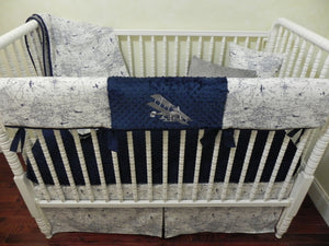 Airplane Crib Bedding Set - Boy Baby Bedding, Air Traffic Map Crib Bedding in Navy Blue, White, and Gray