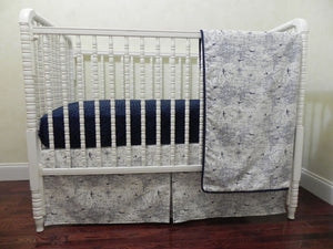Navy and White Airplane Bedding Set Hayes- Boy Baby Bedding, Air Traffic Map Crib Bedding