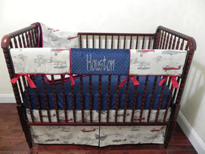 Airplane Crib Bedding Set - Boy Baby Bedding, Airplane Baby Bedding with Navy Blue and Crimson