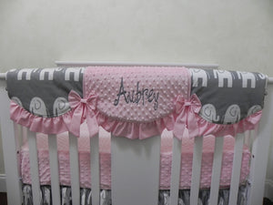 Pink and Gray Elephant Mini Crib Bedding Set - Girl Mini Crib Baby Bedding