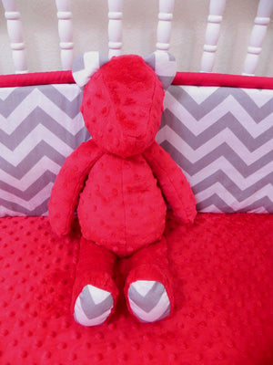 Snuggle Pal Bear - Red with Gray Chevron