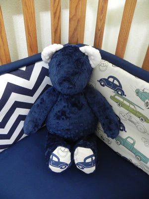 Snuggle Pal Bear - Navy and Ivory with Vintage Cars