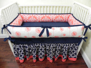 Coral and Navy Girl Crib Bedding Set Halle - Girl Baby Bedding with Bumpers