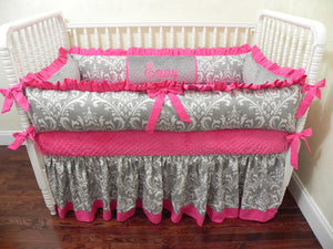 Hot Pink and Gray Girl Crib Bedding Emery - Girl Baby Bedding, Crib Bumpers