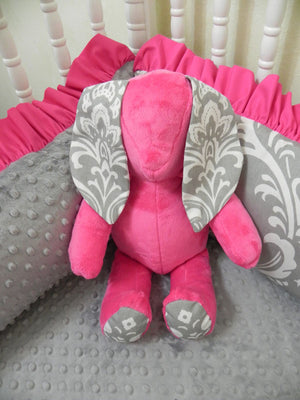 Snuggle Pal Bunny - Hot Pink with Gray Damask