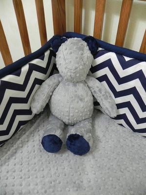 Snuggle Pal Bear - Gray and Navy