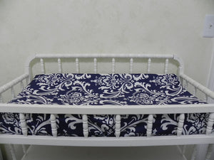 Changing Pad Cover - Navy Damask