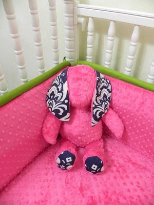 Snuggle Pal Bunny - Hot Pink with Navy Damask