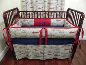 Airplane Crib Bedding Set Aiden - Boy Baby Bedding, Crib Bumpers